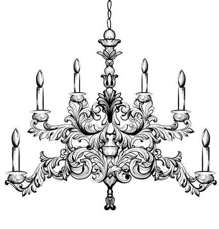 Baroque chandelier. Luxury decor accessory design. Vector illustration sketch