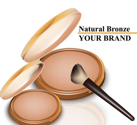 Natural bronze blush cosmetics isolated on white Vector illustration