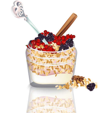 Oatmeal cup with yogurt and berry fruits illustration