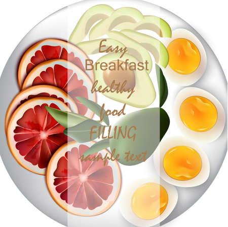 Huevos, aguacate y naranja Vector realista. Desayuno fácil comida nutritiva para menú, página, impresión, cartel