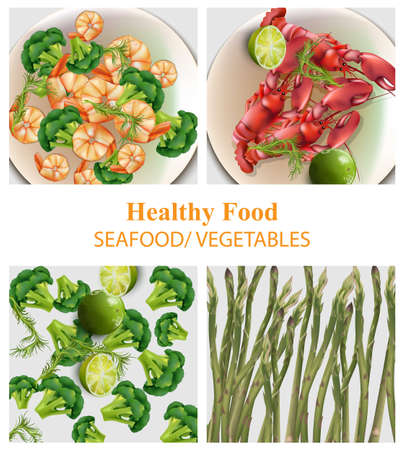 Broccoli, shrimps, asparagus set realistic vector. Ilustração