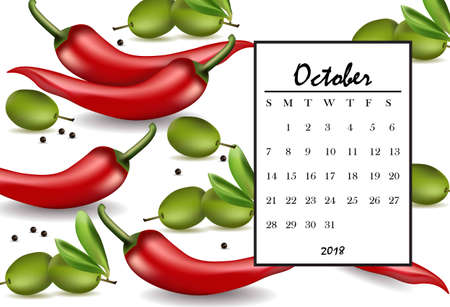 October 2018 calendar page with chili and olives pattern background. Vector illustrations Illustration