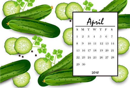 April 2018 calendar page with cucumber pattern background. Vector illustration