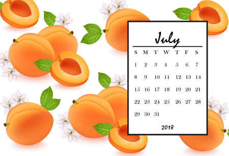 What happened to this show? 88681994-july-2018-calendar-page-with-apricots-pattern-background-vector-illustrations