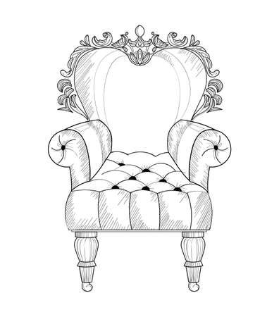 Baroque armchair Vector French Luxury rich intricate structure. Victorian Royal Style decor. Illustration