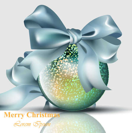 Christmas ball with bow shiny card Vector. Merry Christmas or Happy New Year background Illustration