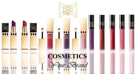 Colorful Realistick lipgloss package in gold. Vector detailed cosmetics products set big collection