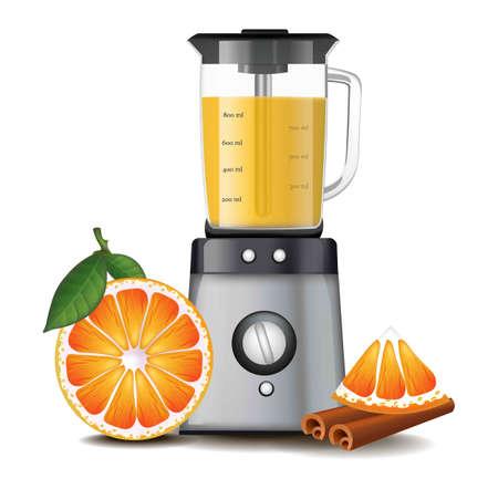 modern kitchen: Orange juice in a blender realistic vector