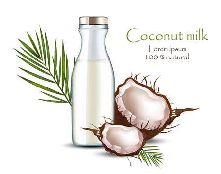 Coconut milk bottle Vector realistic. Food identity Packaging mock ups