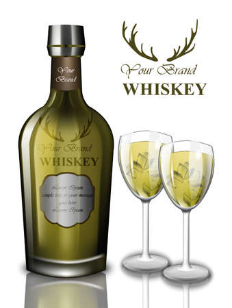 Vettore verde di progettazione di derisione del cocktail verde del whiskey. Bottiglie di imballaggio del prodotto Posto per il testo Vettoriali