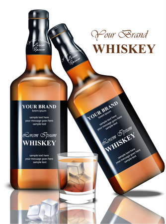 Whiskey realistic bottle Vector. Product packaging brand design. Mock up Place for text