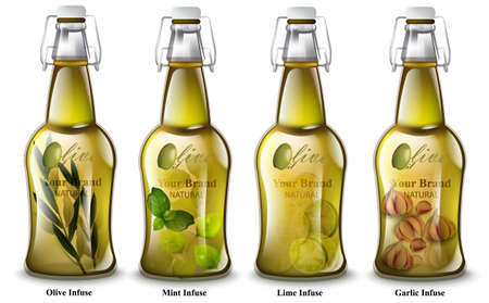 Realistic bottles. Different mix flavors. Product packaging Ilustração