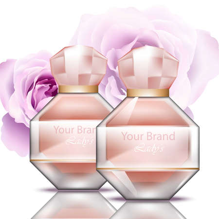 esthetics: Rosewater perfume bottle realistic Vector. Product packaging for brands, advertise, commercial Illustration