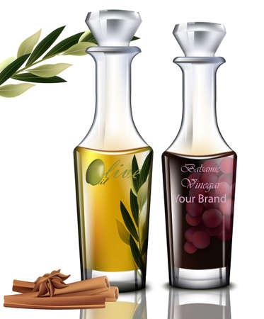 Olive oil and balsamic vinegar Vector. Realistic detailed illustration