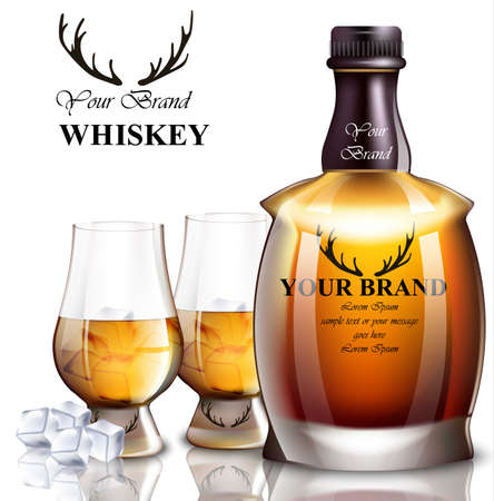 Whiskey realistic bottle Vector. Product packaging brand design