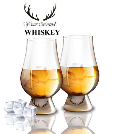 Whiskey glasses with ice cubes isolated on white. Vector realistic illustration