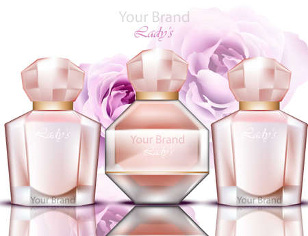 Rosewater perfume bottles set realistic Vector. Product packaging design