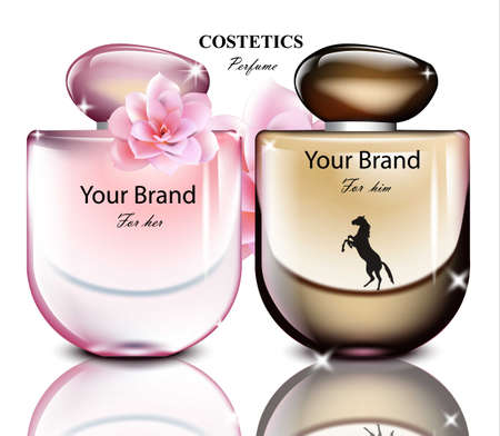 Perfume bottles set for men and women. Realistic Vector Product packaging design