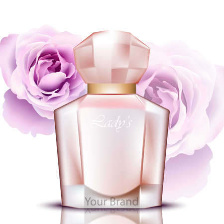 esthetics: Rosewater perfume bottles realistic Vector. Product packaging design