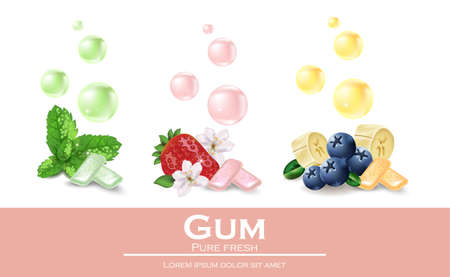 Chewing gum set with different flavors. Vector realistic illustration