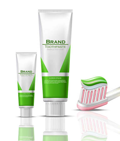 Toothpaste realistic Vector packaging mock up. Green bio product tubes and brush