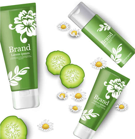 Cucumber and chamomile cosmetics mock up packaging. Brand label design Vector realistic illustration