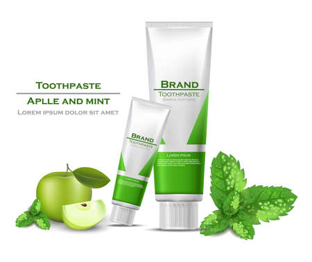Toothpaste realistic Vector packaging mock up. Green bio products tubes with apple flavor