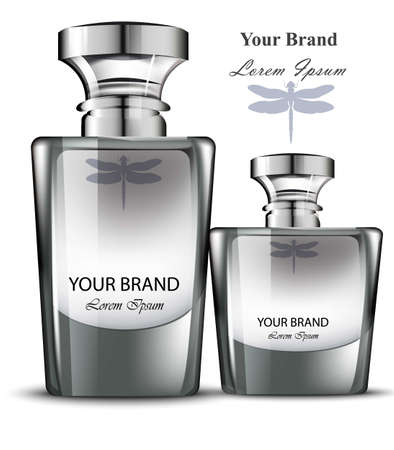 Men perfume bottle set. Realistic Vector Product packaging design Illustration