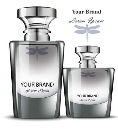 Men perfume bottle set. Realistic Vector Product packaging design Vettoriali