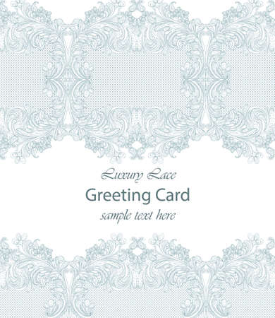 Luxury lace card. Handmade delicate ornament decor