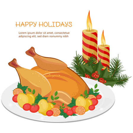 Happy Holidays Vector with turkey and candles background