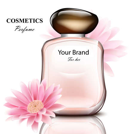 Women perfume bottle with delicate daisy flower fragrance. Realistic Vector Product packaging design