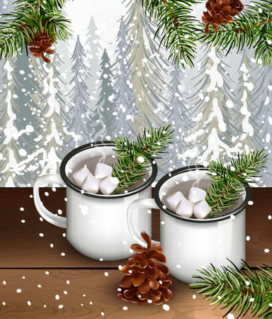 Two cups with hot chocolate and marshmallows drink with fir trees background.