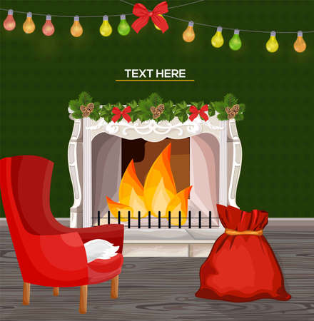 Winter fireplace chimney and Christmas presents Vector cartoon style Stock Photo