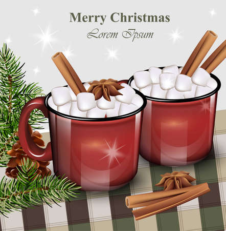 Warm drankje met marshmallow rode kopjes in realistische illustraties.