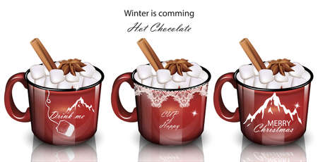 Winter drinks with marshmallow in red mugs realistic illustration.