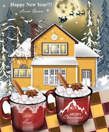 Hot drinks red mugs, a yellow house facade background, winter family holidays card detailed illustrations.