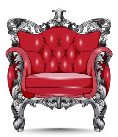 Red Baroque armchair. Illustration