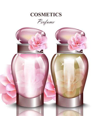 Profumo per donna profumo di rose in bottiglia. Realistici disegni di imballaggio del prodotto vettoriale mock up Vettoriali