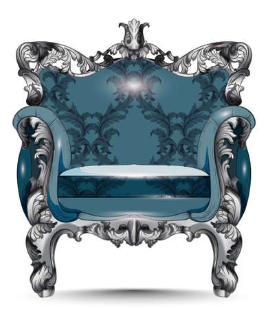 Baroque luxury armchair. Furniture with Victorian ornamented fabric. Vector realistic 3D designs