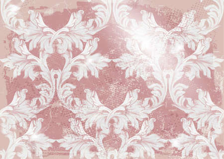 Baroque pattern old fabric background Vector. Vintage ornament decor textures