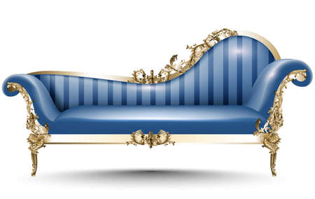 Baroque luxury bench. Rich Imperial style Furniture. Vector realistic 3D designs Stock Photo