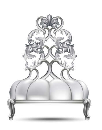 Luxury Baroque chair Vector realistic 3D design. Rich carved ornaments Silver color Illustration