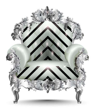 Baroque luxury armchair abstract texture. Vector realistic 3D designs Illustration