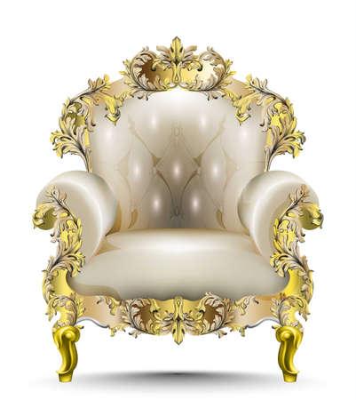 Luxe barok fauteuil zacht textiel. Vector realistische 3D-ontwerpen. Gouden gesneden ornament