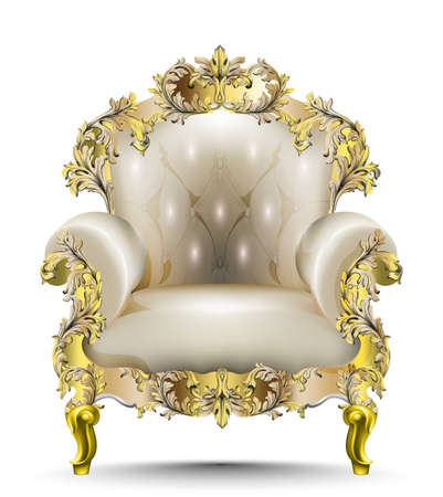 Luxurious Baroque armchair soft textile. Vector realistic 3D designs. Golden carved ornament