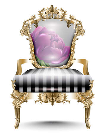 Luxurious Baroque chair soft textile. Vector realistic 3D designs. Golden carved ornament