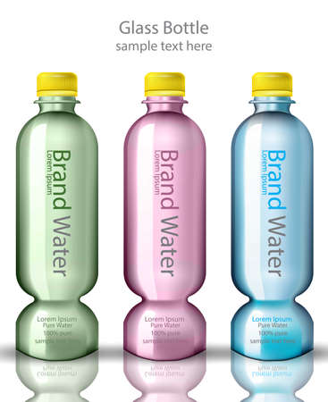 Water bottles Vector realistic design. Product packaging mock up illustration Иллюстрация