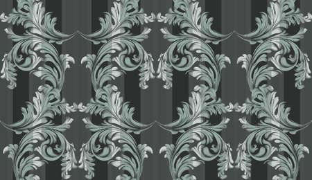 Vector Baroque ornament pattern background. Vintage exclusive decor textures Çizim