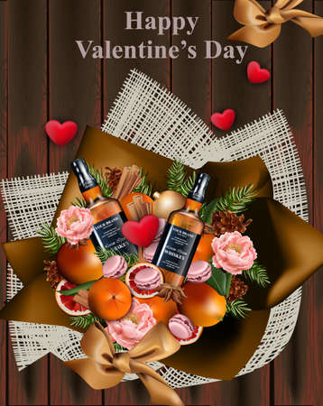 Happy Valentine day whiskey and decorations on wood background Vector illustration realistic